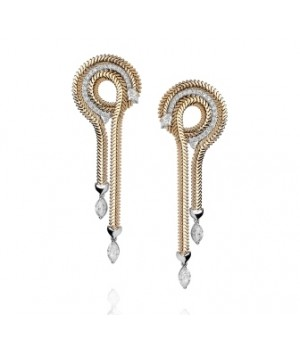 Золотые серьги JJewels Milano  Sinuosa collection c бриллиантами