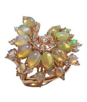 Золотое кольцо JJewels Milano с огненным опалом