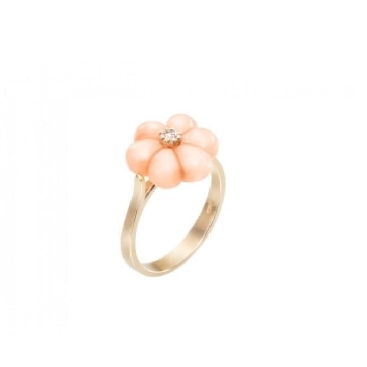 Золотое кольцо Agemina c кораллом