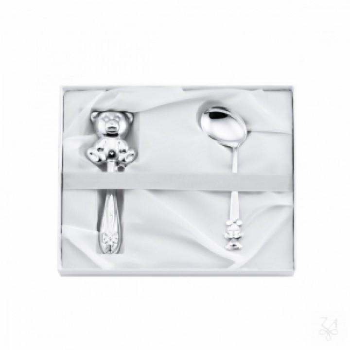 Серебряный набор Zaramella Argenti для новорожденных ложка с погремушкой