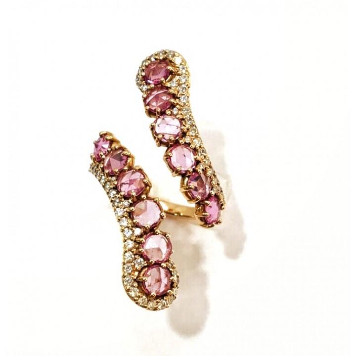 Золотое кольцо Jjewels Milano Meribell collection c розовыми сапфирами