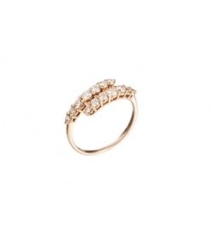 Золотое кольцо Leaderline  двойная дорожка с бриллиантами
