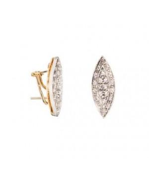 Золотые  серьги Agemina с коньячными бриллиантами ромбовидные