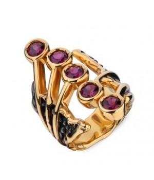 Серебряное кольцо  Igor Kalita с родолитами покрытие  24ct золото