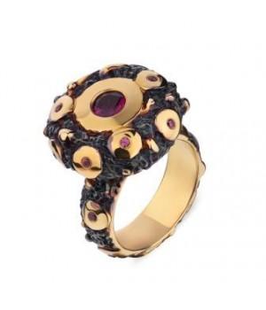 Серебряное кольцо Igor Kalita с родолитами   и золотым покрытием