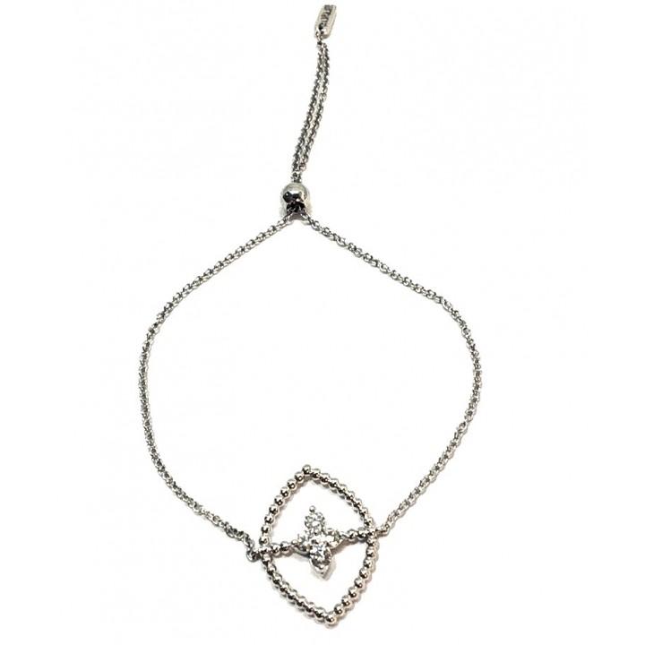 Золотой браслет  Leaderline гибкий овал с бриллиантами