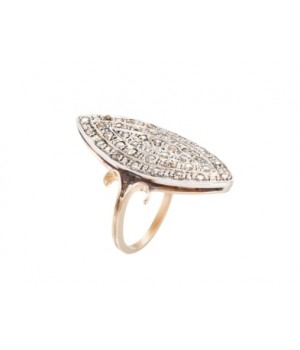 Золотое кольцо Agemina маркиз  с коньячными бриллиантами