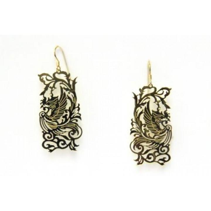 Серебряные серьги Shankara в форме  дракона
