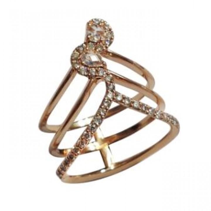 Кольцо тройное с бриллиантом
