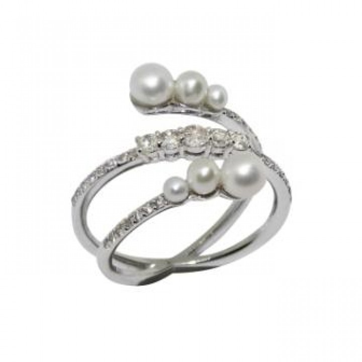 Золотое кольцо Leaderline c речным жемчугом
